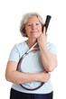 Seniorin mit Tennisschläger