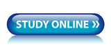 STUDY ONLINE Web Button (e-learning university college blue) poster