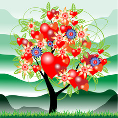 Дерево с валентинками