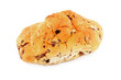 raisin bread over white background