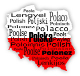Word Poland in foreign languages poster