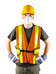 Construction worker wearing safety equipment