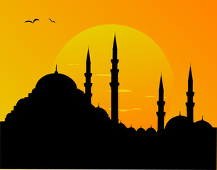 Mosque and sunset