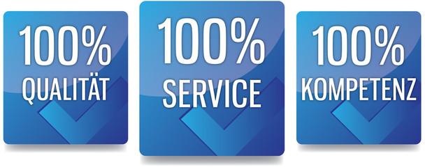 Button - 100% Qualität Service Kompetenz - blau