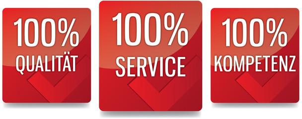 Button - 100% Qualität Service Kompetenz - rot