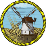label windmill drawn in a woodcut like method poster