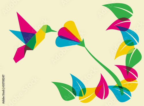Foto op Aluminium Geometrische dieren Spring time humming bird and flower