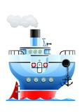 blue ship vector illustration