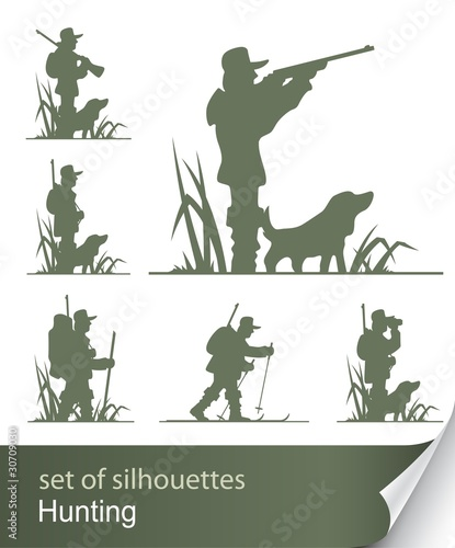 silhouette of hunter vector