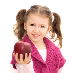 bambina con mela rossa
