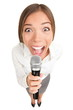 Microphone Business woman screaming / singing