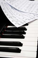 Klavier mit Notenblättern