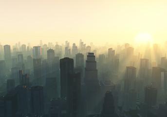 city at misty sunrise