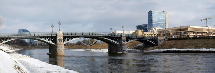 Lithuanian parliament, old bridge and river