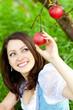 Frau pflückt roten Apfel