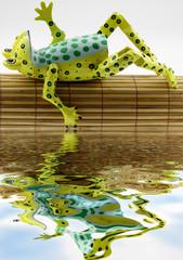 grenouille se relaxant au bord de l'eau