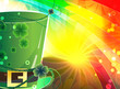 Rainbow background and  magic hat