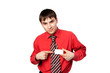 young man in shirt and tie, holds a business card