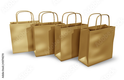 Brown paper shopping bags in a group