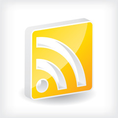 3d rss icon design with shadow