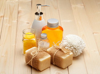Soap, bath salt and essential spa oil