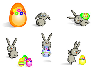 Easter bunnies isolated