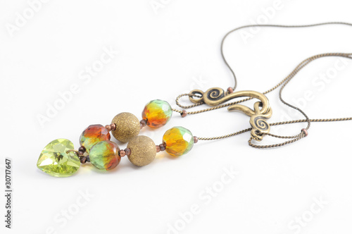 gold necklace and  green Crystal beads