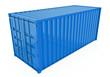 Blue shipping container isolated against a whjte background