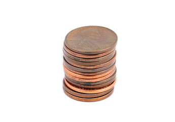 Pile of American cent coin, isolated on white background