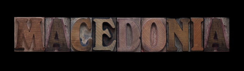 the word Macedonia in old letterpress wood type
