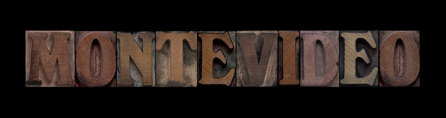 Montevideo in old wood type