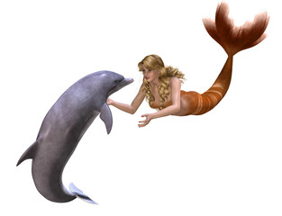 Dolphin And Mermaid - 3D render