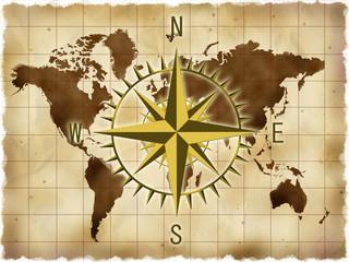 世界地図とコンパス © chris