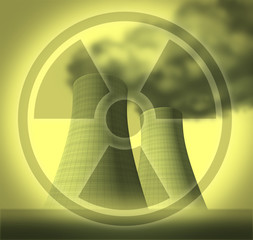Radiation radioactive symbol of  fallout from reactor