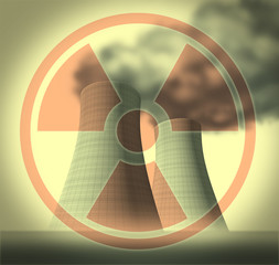 Nuclear radioactive and radiation symbol cooling towers