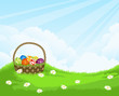 spring landscape  with  basket with Easter eggs