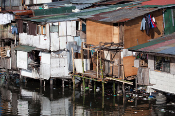 Poverty - shanty squatter homes in Philippines