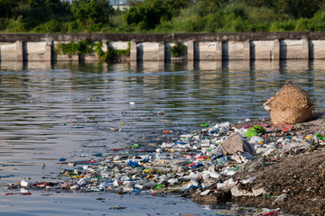 Water pollution - garbage on river in Philippines