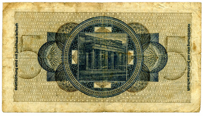 Banknote five Reichsmark early forties of the twentieth century.