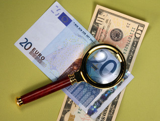 Detail of Twenty euro Bill Through a Magnifying Glass