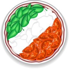 Pizza Bandiera Italia-Pizza Italy Flag-Vector