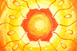 closeup of bright orange painted picture with circle pattern, ma