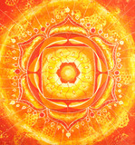 abstract orange painted picture with circle pattern, mandala of