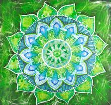 Abstrait tableau peint en vert avec motif cercle, mandala d'un