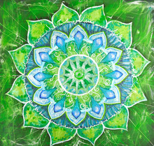 Abstrakt grün gemalte Bild mit Kreis Muster, Mandala a