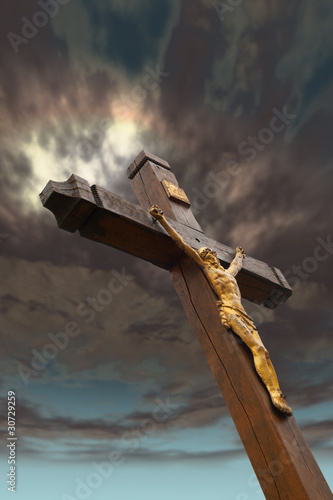 The crucifixion from a tree with Jesus's gilt figure - 30729259