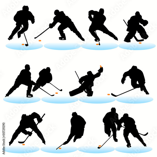 Ice hockey silhouettes set