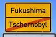 Ortsschild Fukushima - Tschernobyl