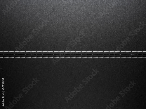 Black horizontal stitched leather background