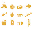 Various healthy food and drink icons